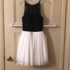 B.Darlin halter b/w lace homecoming dress